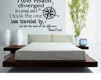 Robert Frost Two Roads Wall Decal
