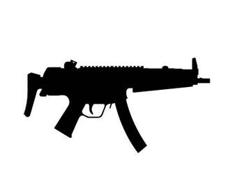 Mp5 Wall Decal - Gun Decal - Mp5 Gun Decal