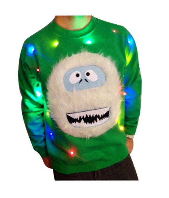 Light Up Christmas Sweater! - Abominable Snowman - Christmas Jumper - Ugly  Christmas Sweater - SALE!!! _____**Fast Shipping**_____ - Light Up Christmas Sweater Abominable Snowman Christmas Etsy