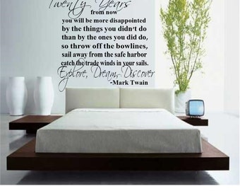 Mark Twain Explore Dream Discover Quote Wall Decal