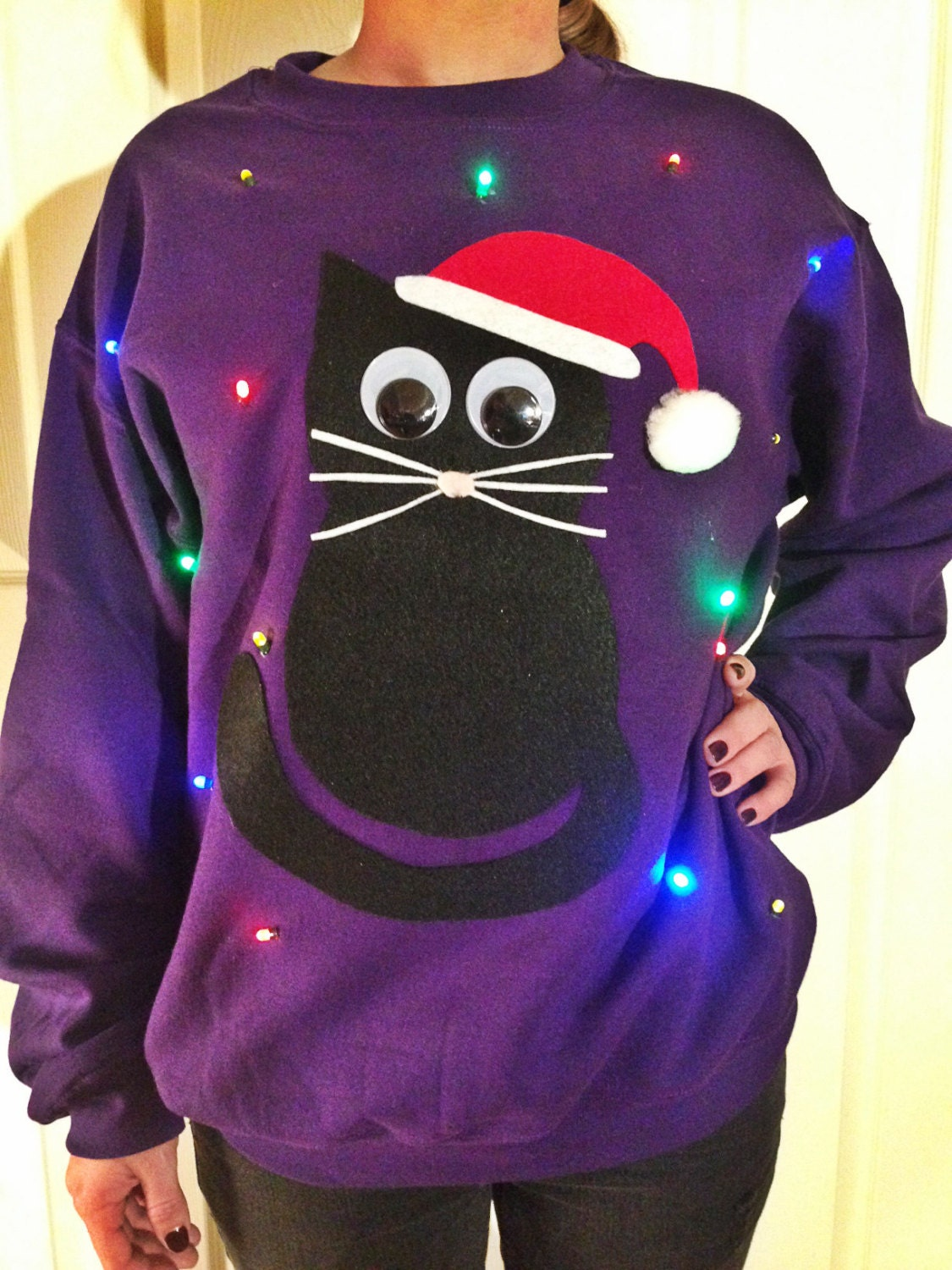 5c26d34a31a2 Light Up UGLY CHRISTMAS SWEATER Christmas Cat Also