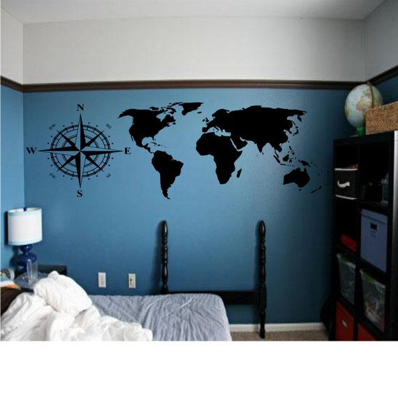 Map Of The World With Compass.Map Of The World With Compass Rose Combo Wall Decal Etsy