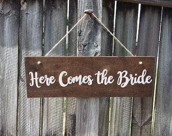 Here  Comes The Bride/ Happily Ever After sign, sign for wedding, ring bearer sign, flower girl sign, wedding decor
