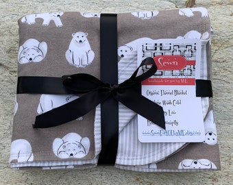 Polar Bears on Gray Organic Flannel Double Layered Blanket using Cloud 9 Northerly Fabric Backside is Gray & White Stripes Gender Neutral