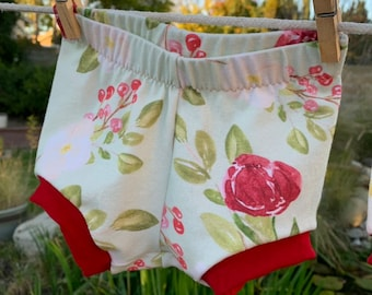 Baby Girl Diaper Bummies Diaper Cover Floral Knit with Red Cuff and Elastic Waistband Sizes 3 Months and 12 Months