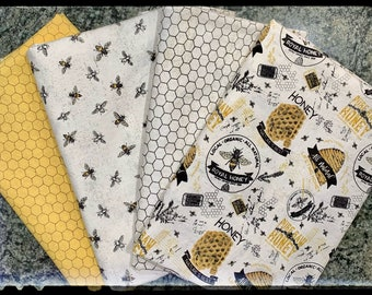 Honey Bees and Honeycomb Prints Cotton Gender Neutral Fitted Crib/Toddler Bed or Fitted Cradle Sheets Fit Standard Size Mattress