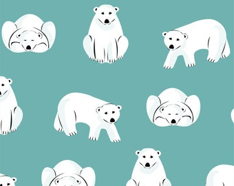Polar Bears on Turquoise Blue Organic Cotton Flannel Fitted Sheet Fits Standard Crib or Toddler Bed Mattress