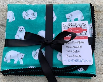 Polar Bears or Confetti Dots Organic Cotton Flannel Swaddling Blanket Trimmed with Mini PomPoms using Cloud 9 Northerly Fabric