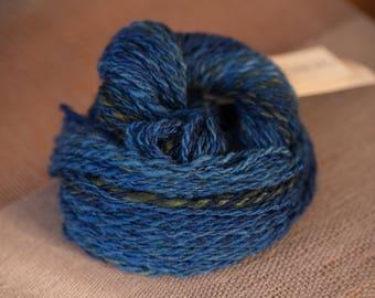 BFL Worsted Weight Hand Spun Yarn Blue