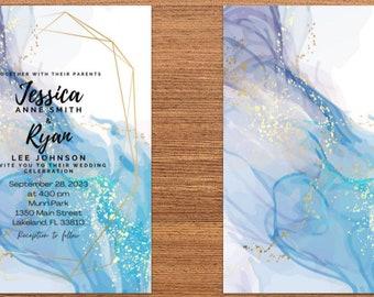 Blue & Purple Marble Wedding Invitation Suite