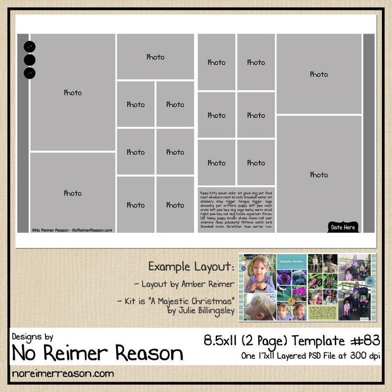 8.5x11 Digital Scrapbooking Template 2 Page Scrapbook Layout image 0
