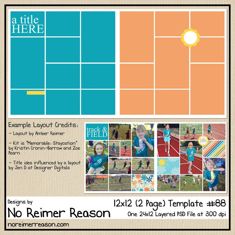 12x12 Digital Scrapbooking Template 2 Page Scrapbook Layout image 0