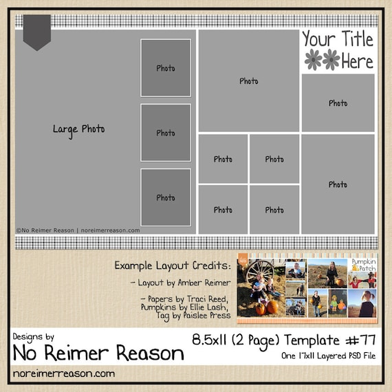 8 5x11 Digital Scrapbooking Template 2 Page Scrapbook Layout Etsy