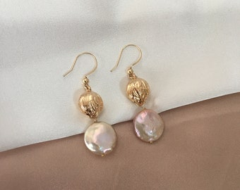 Baroque pearl flower bud earrings / Copper / 14K gold filled / Jewelry gift / Earrings for wedding / free shipping