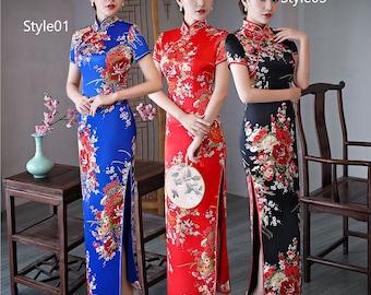 1299164aa 2019 Fashion Flower Fabric/SILKLIKE Vintage Spring/Autumn/Summar Women Chinese  Qipao Dress Long Design Slim CHEONGSAMS Pluse size