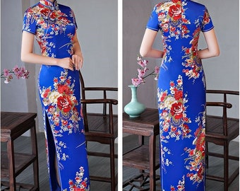 5e8ee417c6 2019 Fashion Flower Fabric SILKLIKE Vintage Spring Autumn Summar Women Chinese  Qipao Dress Long Design Slim CHEONGSAMS Pluse size