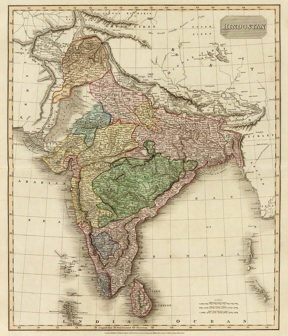 Old Map Of India Hindustan Canvas Large Wall Decor Vintage Etsy