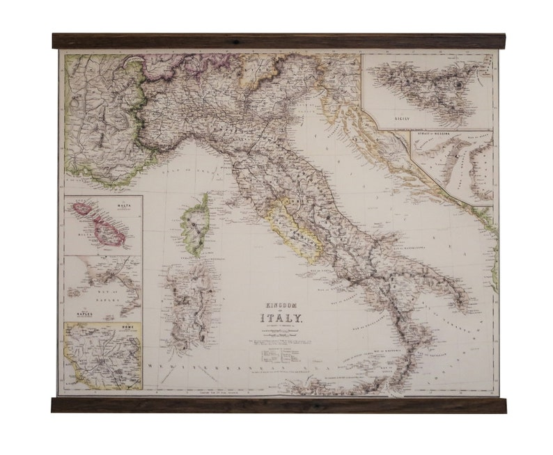 Italy vintage map, Italian maple wood, Super accurate details, Kingdom of  Italy, Canvas cotton, Sicily, Sardegna, Rome, Handsome wall map