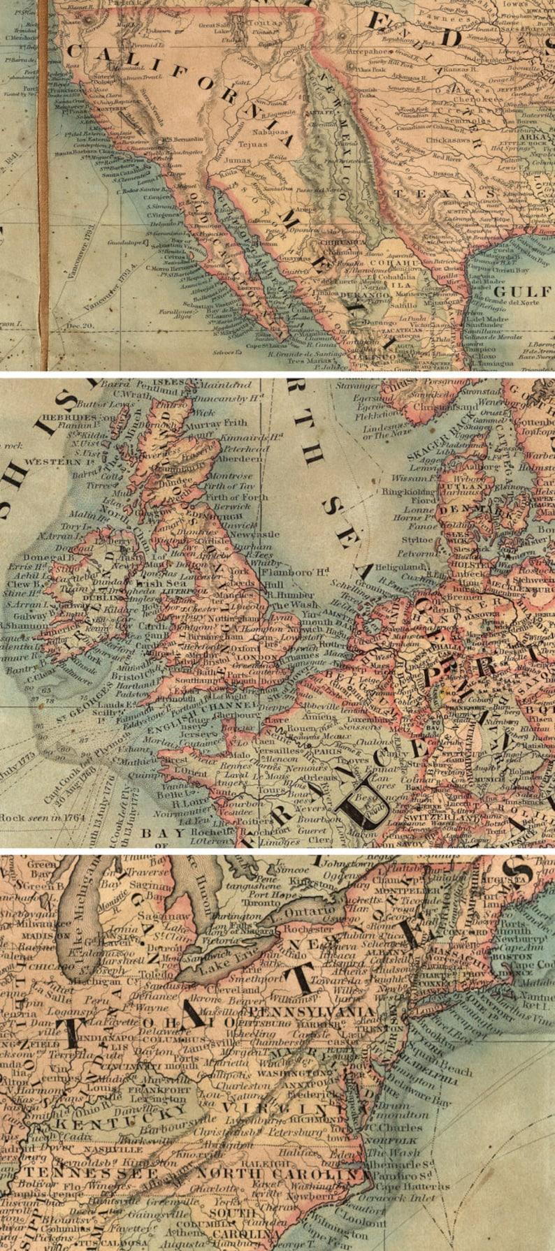 Amazing world map 1800, 90\'\' x 60\'\' , 230 x 150cm, Canvas, Victorian style,  ZMAPS, World Cartography, Antique furniture, Antique hotel