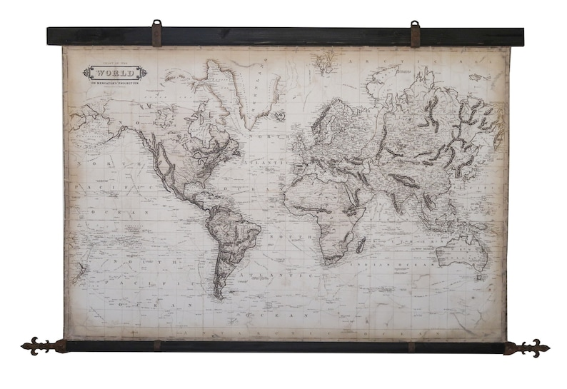 Royal world map 1800, 67\'\'x42\'\' /168 x 108cm, Rusty steel Fleur de lis,  Charming art, Medieval decor, Prestigious map,Large vintage wall art