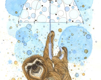 Sloth Watercolor Print