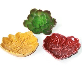 Olfaire Majolica Leaf Dishes - Maroon and Gold Leaf Shaped Trinket Dishes - Made in Portugal