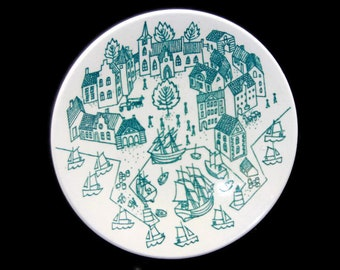 Nymolle Art Faience Hoyrup Small Plate Saucer 4006 Old Port Town Limited Edition - Danish Art Pottery