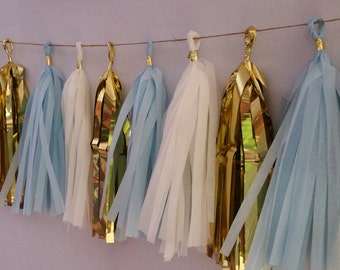 Baby Blue Gold White Tissue Paper Tassel Garland, Party Decorations, Baby Shower, It's a Boy, Tassel Garland, Party Decor, Wedding Decor