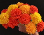 24 Marigolds Crepe Paper Flowers, Day of the Dead, Dia de Los Muertos, Mexican Flowers, Orange Yellow, Wedding, Cinco de Mayo, Paper Flowers