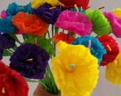 100 Mexican Paper Flowers, Cinco de Mayo, Crepe Paper Flowers, Dia de Los Muertos, Fiesta Decorations, Altar Flowers, Day of the Dead, Luau