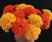 100 Marigolds Crepe Paper Flowers, Day of the Dead, Dia de Los Muertos, Mexican Flower, Orange Yellow, Wedding, Cinco de Mayo, Paper Flowers
