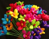 24 Mexican Paper Flowers, Cinco de Mayo, Crepe Paper Flowers, Dia de Los Muertos, Fiesta Decorations, Altar Flowers, Day of the Dead, Luau
