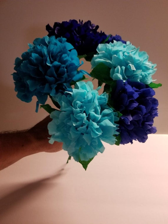 12 Blue Ombre Hydrangea Crepe Paper Flowers Mexican Flower Etsy