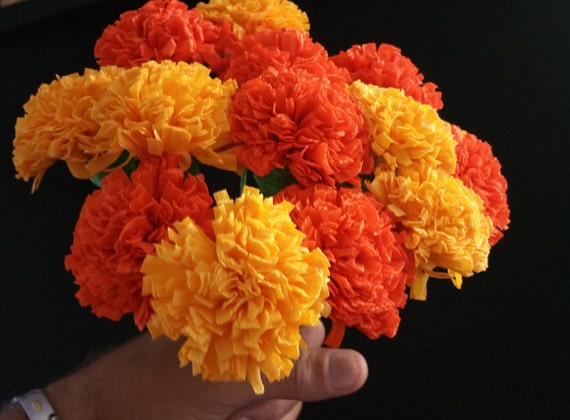 12 marigolds crepe paper flowers day of the dead dia de los etsy image 0 mightylinksfo
