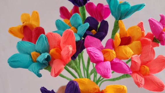 Mexican paper flowers cinco de mayo 10 crepe paper flowers etsy image 0 mightylinksfo
