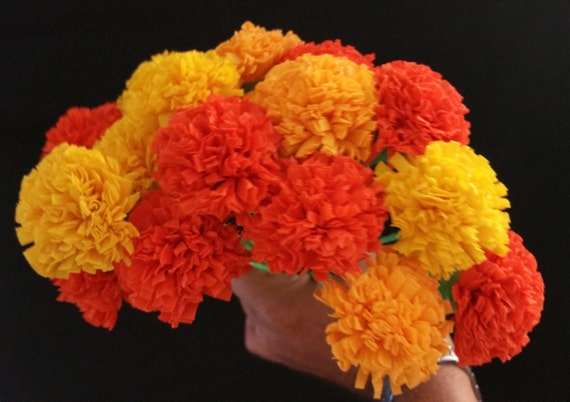 24 marigolds crepe paper flowers day of the dead dia de los etsy image 0 mightylinksfo