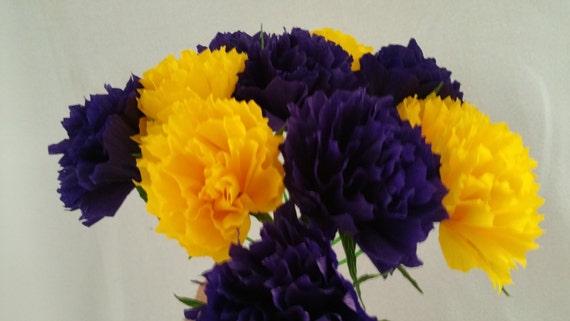 Lsu Tigers 12 Purple Yellow Crepe Paper Peony Flowers Peonies