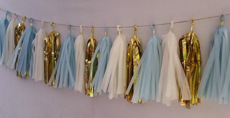 Banner It/'s a Boy Baby Shower 20 Tassel Baby Blue Gold White Tissue Paper Tassel Garland Party Decor Party Decorations Baby Shower