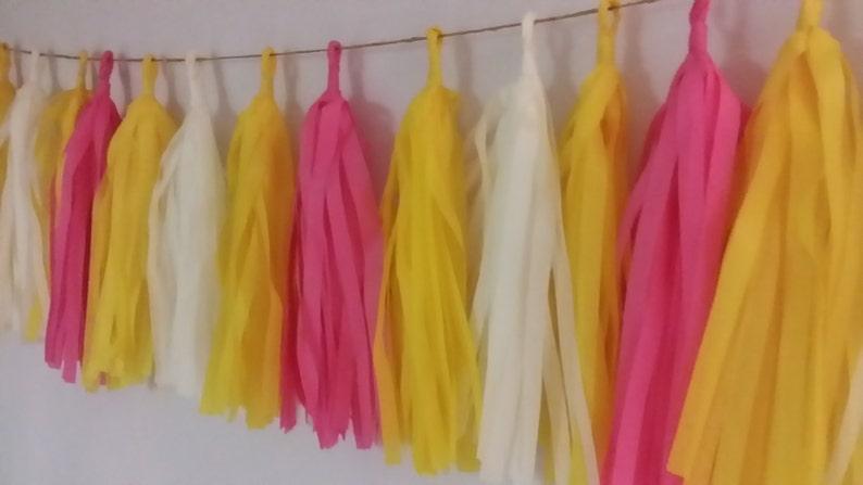 Wedding Decoration Birthday Party Decoration Yellow Baby Hot Pink Minion Balloon Tassels Only 16.99 20 Tassel Tissue Paper Garland
