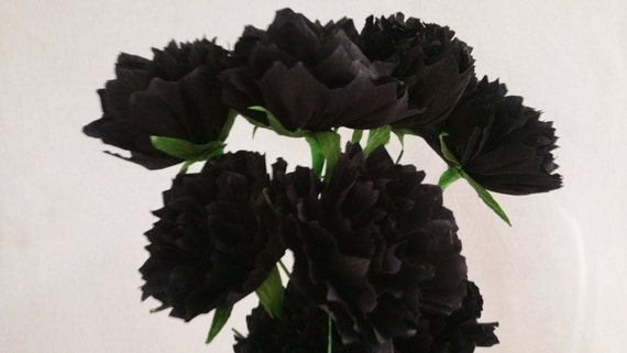 Wedding Flowers Mexican Flowers Tissue Paper Poms Party Decoration 12 Black and White Crepe Paper Peony Flowers Over The Hill Peonies