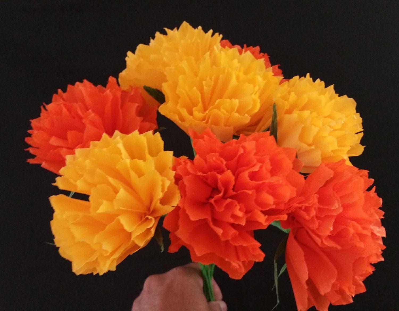 Halloween 12 Orange And Yellow Crepe Paper Peony Flowers Etsy
