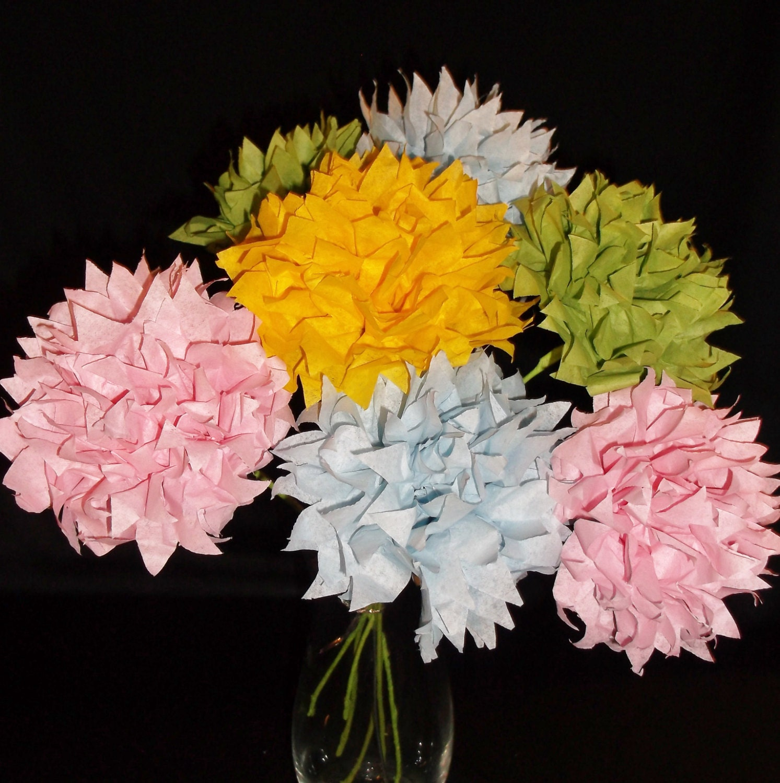 1.00 each, 12 long stems pastel pom bouquet, wedding bouquet, paper  flowers, paper poms, birthday bouquet, easter flowers, paper flowers