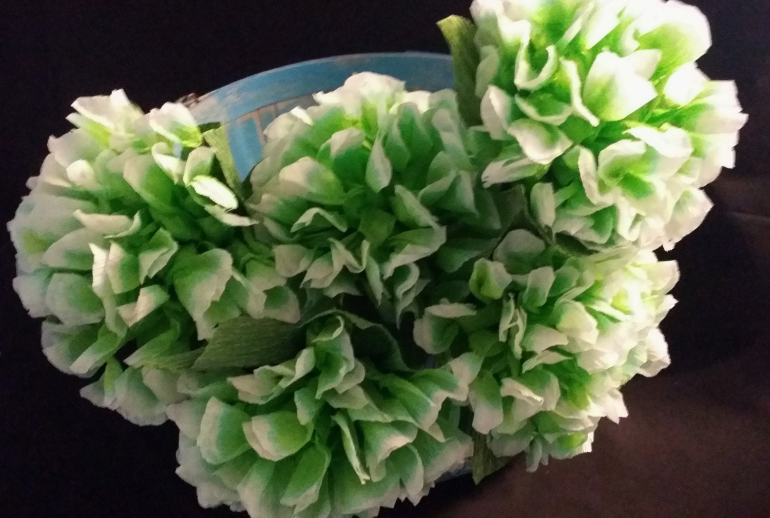 12 Hydrangea Crepe Paper Flowers Light Green Mexican Etsy
