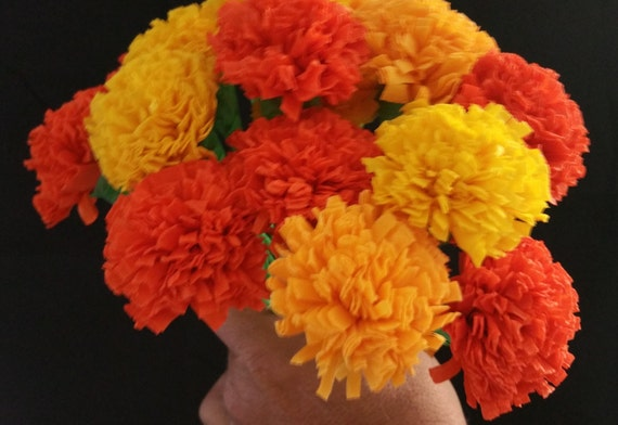Day of the dead 12 marigolds crepe paper flowers dia de los etsy image 0 mightylinksfo