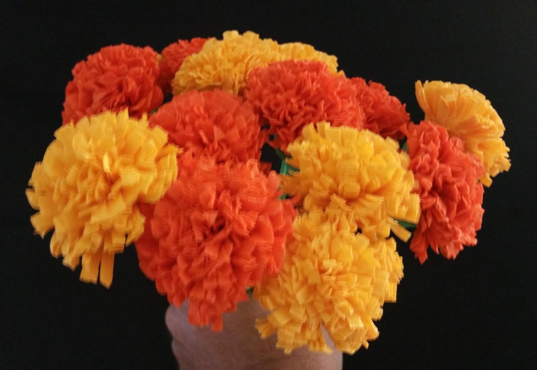 24 Marigolds Crepe Paper Flowers Day Of The Dead Dia De Los Etsy