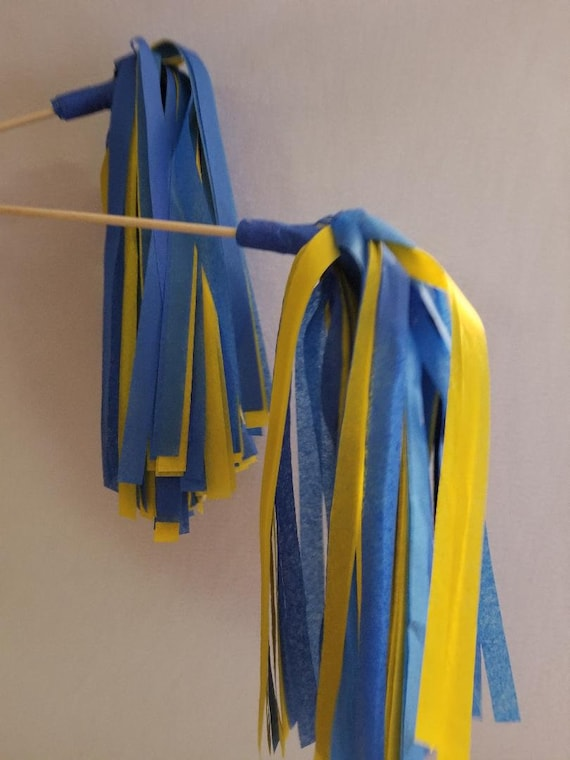 10 Tassel LA Chargers Tissue Paper Garland Party decor Blue Yellow Football Party Decor Chargers Football Tassel Banner FAST SHIPPING