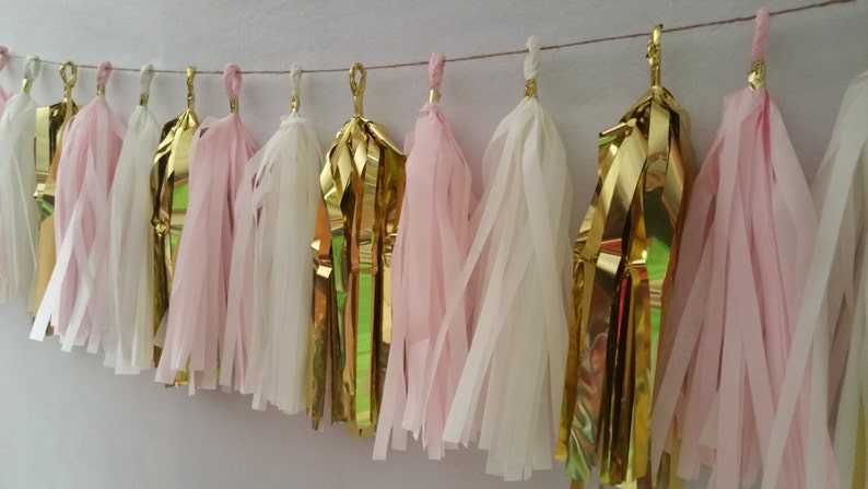 It/'s a Girl Baby Shower Blush Pink White Gold Tissue Paper Catholic Baptism Tassel Garland ONLY 15.99 Party Decorations Wedding