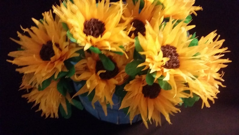 Halloween 12 Crepe Paper Sunflowers Yellow Thanksgiving Wedding Orange Reception Mexican Flowers Poms Paper Flower Fall