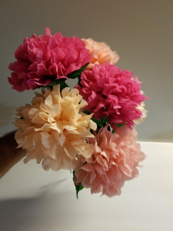 12 Hydrangea Pink Ombre Crepe Paper Flowers Mexican Flowers Etsy