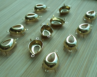 7.5mm CB2R 18 pcs lot l 35ss brass round closed back prong 2 ring connector settings 18 pc lot 7.3mm